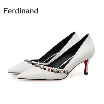 Women Summer Pumps Women high heel shoes Full Genuine leather Rivet Shallow Pointed toe Thin heel Black White Ladies party shoes