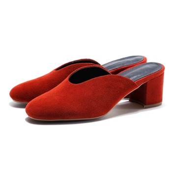 Women Slingbacks Pumps Suede Genuine Leather high Heels Shoes Ladies 2017 Spring and Summer New Shoes Shallow Red Black
