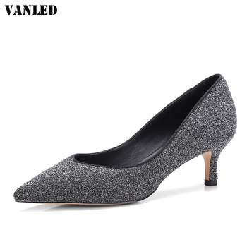 VANLED Pointed Toe Women Pumps Mid Heel Shoes Thin Heels Sapato Feminino Casual Superstar Shoes Shallow Ladies Sequins Pumps
