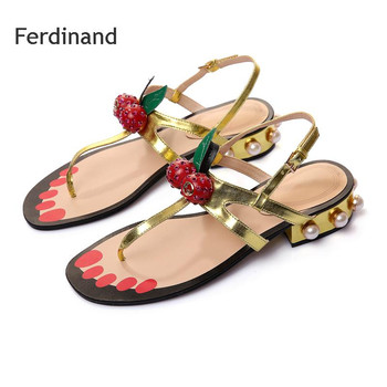 New Summer Sandals Women Split Leather Square heel Gold Black Buckle String Bead Women Casual shoes Solid color Flip flops