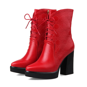 European street style sexy pointed toe mid calf boots fashion lace-up platform black red high-heeled women's riding boots