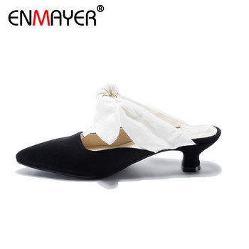 ENMAYER Slingback Hoof Heels High Heels Pointed Toe Slip-On Classic Black Party Shoes Women Genuine Leather Summer Women Pumps