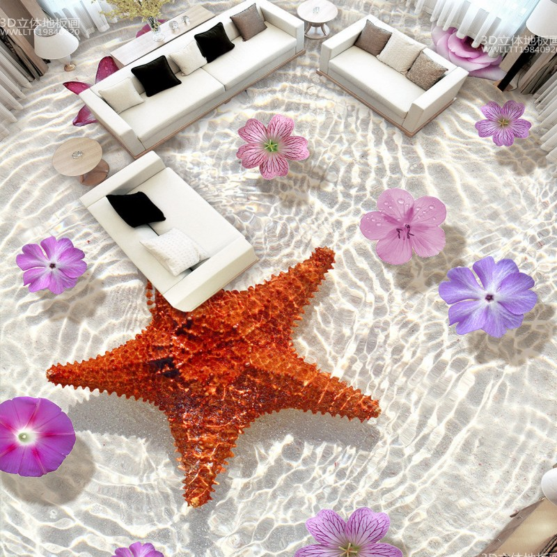 Starfish flowers living room bathroom 3D floor stickers self-adhesive home decoration flooring wallpaper mural