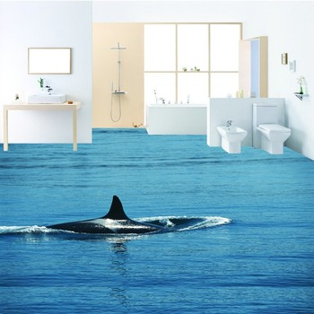Water whale 3D floor non-slip thickened living room bathroom square bedroom kitchen office lobby flooring mural