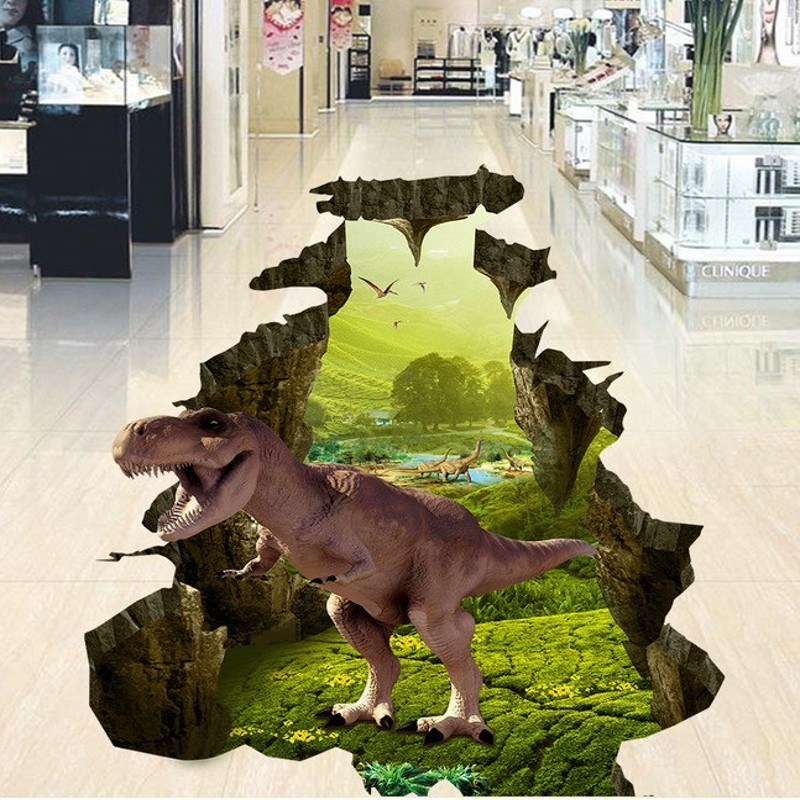 3D dinosaur children room amusement park floor sticker custom waterproof PVC wallpaper