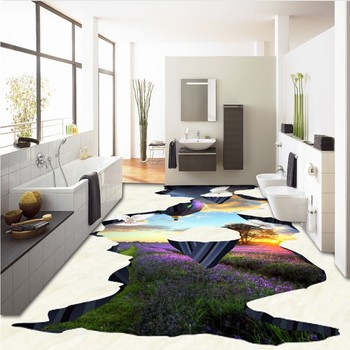 Custom 3d Beautiful sunset tulip balloon dove 3D painting floor waterproof self-adhesive chinese photo wallpaper