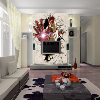 3D Iron Man painting floor wallpaper children room nursery decoration non-slip wear floor mural
