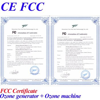 CE EMC LVD FCC ozonator with water 7g/h air source ozone sterilizer