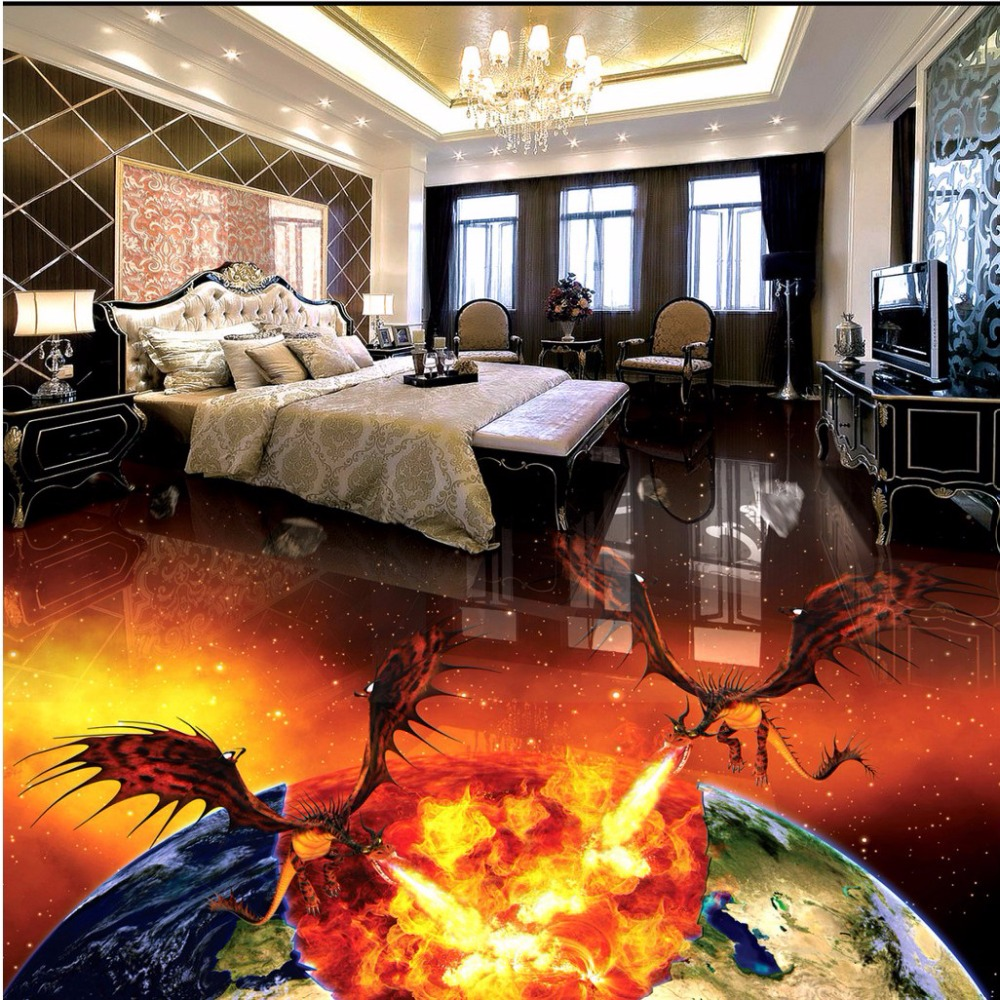 Spitfire dragon burning earth creative 3D stereo floor painting waterproof non-slip wear flooring wallpaper